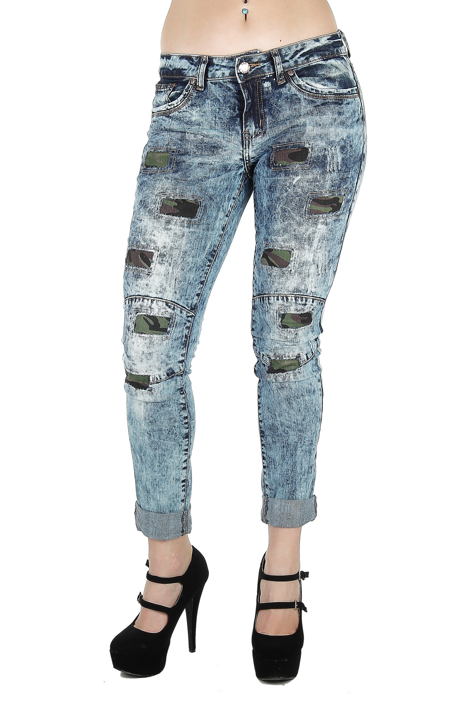 Style 7836DBA - Destroyed Rip and Repair Premium Roll-up Boyfriend Fit Capri in Washed Blue Size 9