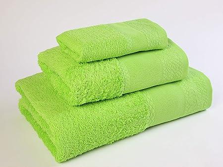 Flor de Algodón Panama Juego de 3 toallas algodón, VERDE NATURAL ...