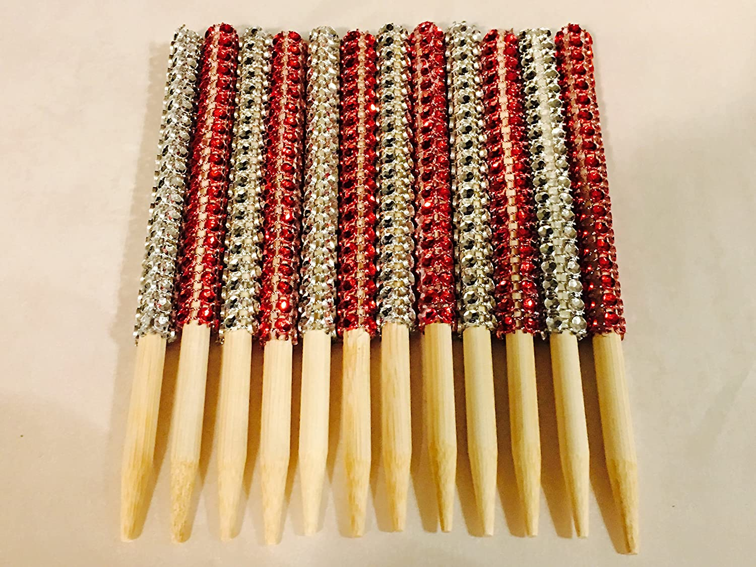12 PC (6) Silver (6) Red Bling Candy Apple Sticks