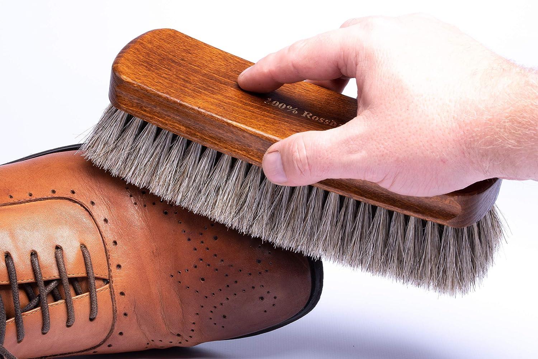 Lenzen Brosse /à chaussures extra large XL I Brosse de polissage en 100/% crin de cheval I 20 cm de longitude I Pour une brillance parfaite