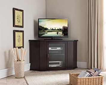 Kings Brand 47 Inch Walnut Wood Corner Tv Stand Entertainment Center With Cabinets Storage Shelves