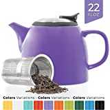 Tealyra - Drago Ceramic Small Teapot Purple - 650ml (2-3 cups) - With Stainless Steel Lid and Extra-Fine Infuser for Loose Leaf Tea