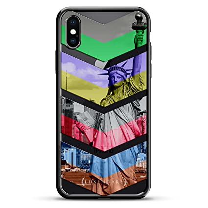 COLORFUL ARROWS POINTING DOWN | Luxendary Chrome Series designer case for iPhone X in Titanium Black trim