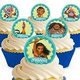 Cakeshop 12 x PRE-CUT Disney Moana Edible Cake Toppers