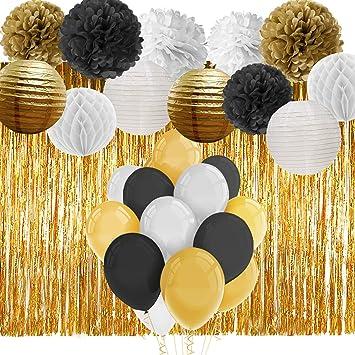 Amazon.com: paxcoo negro y oro decoraciones de fiesta con ...