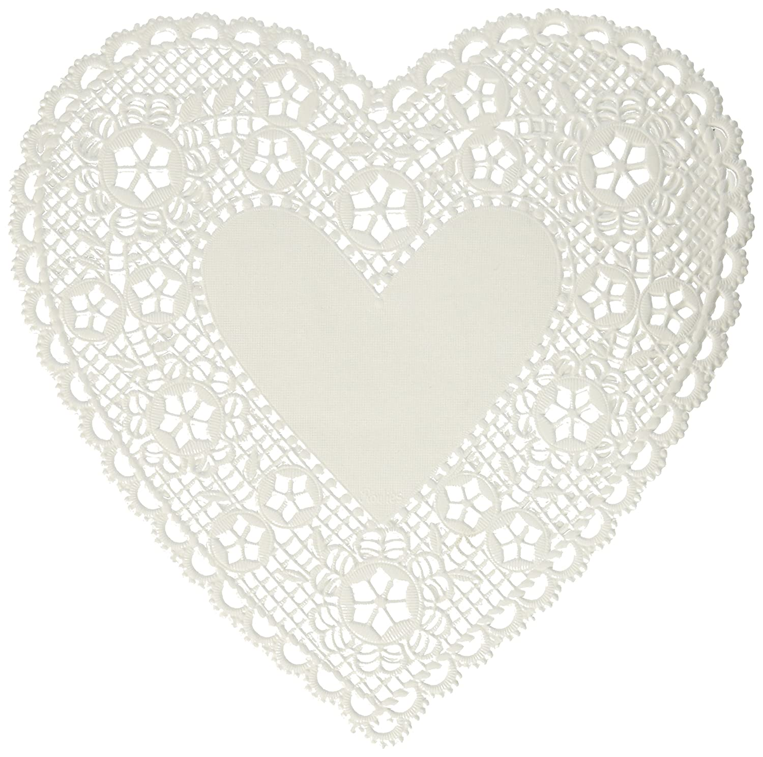 """paper doilies 6"""" heart 18 pkg white arts crafts sewing"""