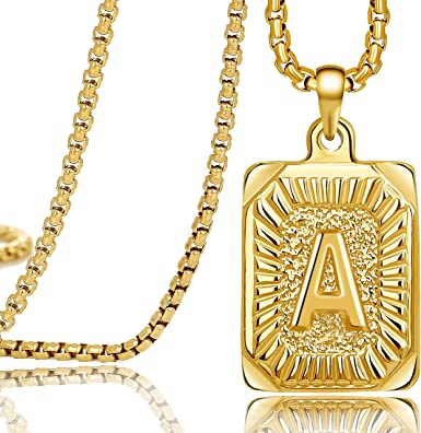 """2 PCS Letter Pendants Gold Filled Initial Necklace 18/"""" Figaro Box Chain Unisex"""