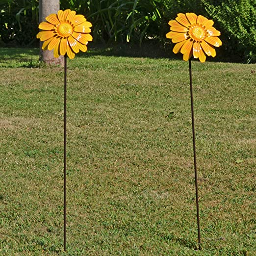 Fiesta Studios - Juego de 2 estacas para jardín con diseño de Flores, Color Amarillo: Amazon.es: Jardín