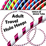 PRO Hula Hoops (UltraGrip/Glitter) Travel Hula Hoop - Fitness Adulte Voyage Pliable Hula Hoop Pondéré, Pour Aerobic et Hoop Danse (Diam:100cm, Lesté:640g)