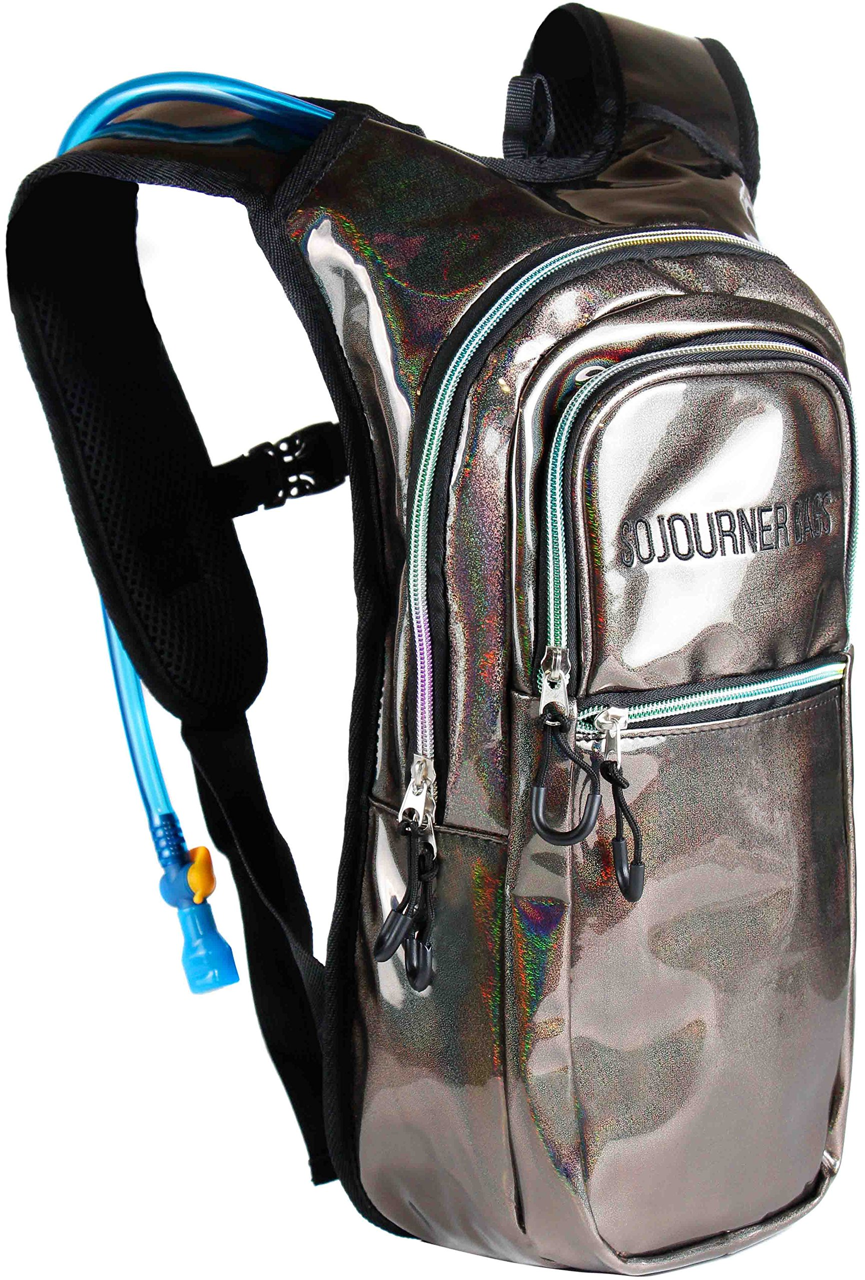 Sojourner Rave Hydration Pack Backpack - 2L Water Bladder Included for Festivals, Raves, Hiking, Biking, Climbing, Running and More (Glitter - Copper)
