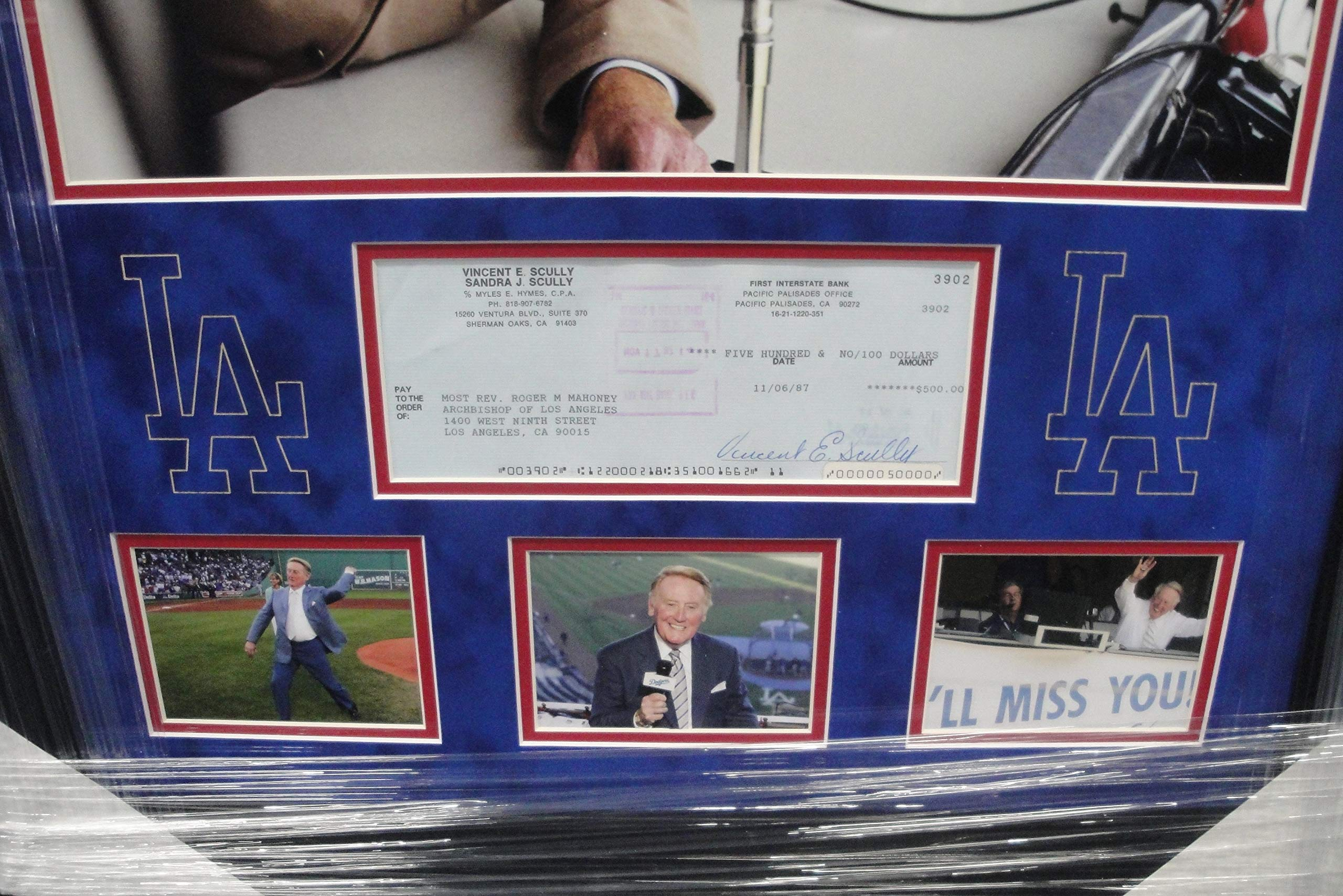 Vin Scully Hand Signed Autographed Personal Check Los Angeles Dodgers Framed