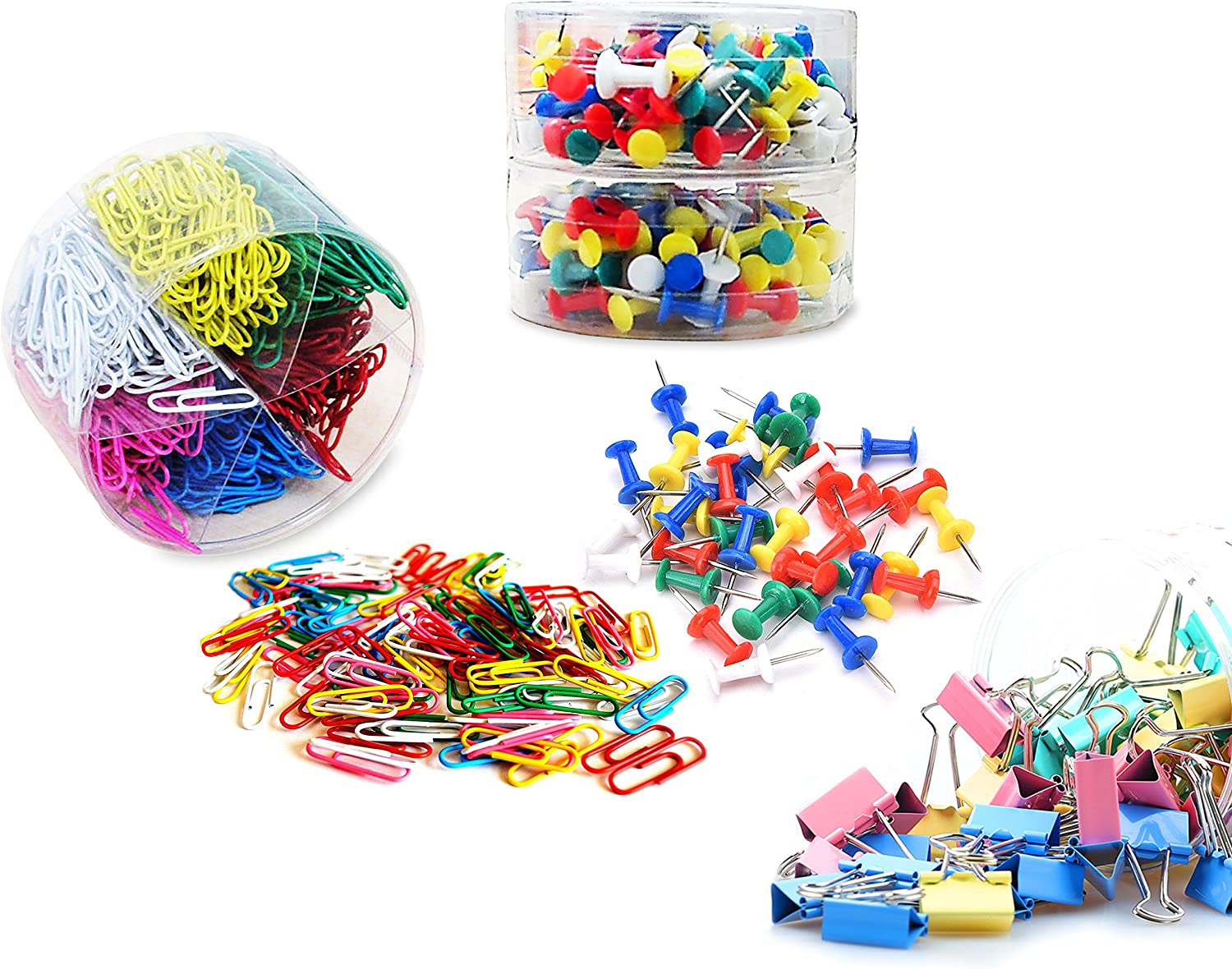 Pins & Tacks All In One Combo Office Supplies Set- 600 Paper Clips, 200 Push Pins, 40 Binder Clips. Great Teachers Pack! By Mega Stationers