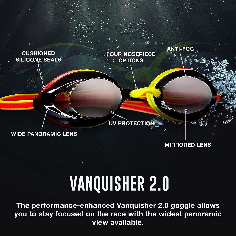 Speedo Vanquisher 2.0 Mirrored Swim-Swimming Racing Goggles-Silver Anti-Fog