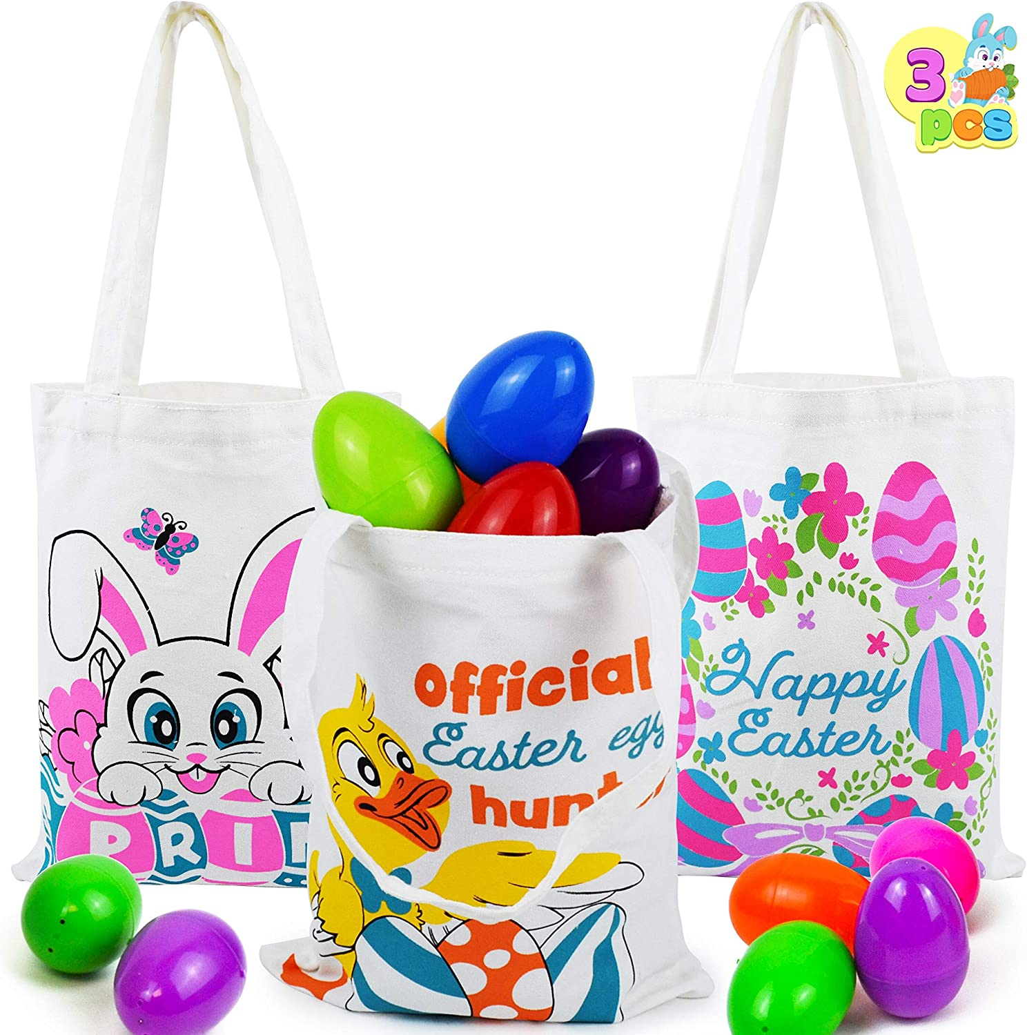 Easter Basket Easter Kids Party Favor Supplies Easter Party Gift Goodie Bags with Handles for Easter Egg Hunt 3 Pcs Easter Cotton Tote Bags Easter Reusable Canvas Grocery Bags for Easter Eggs Hunt