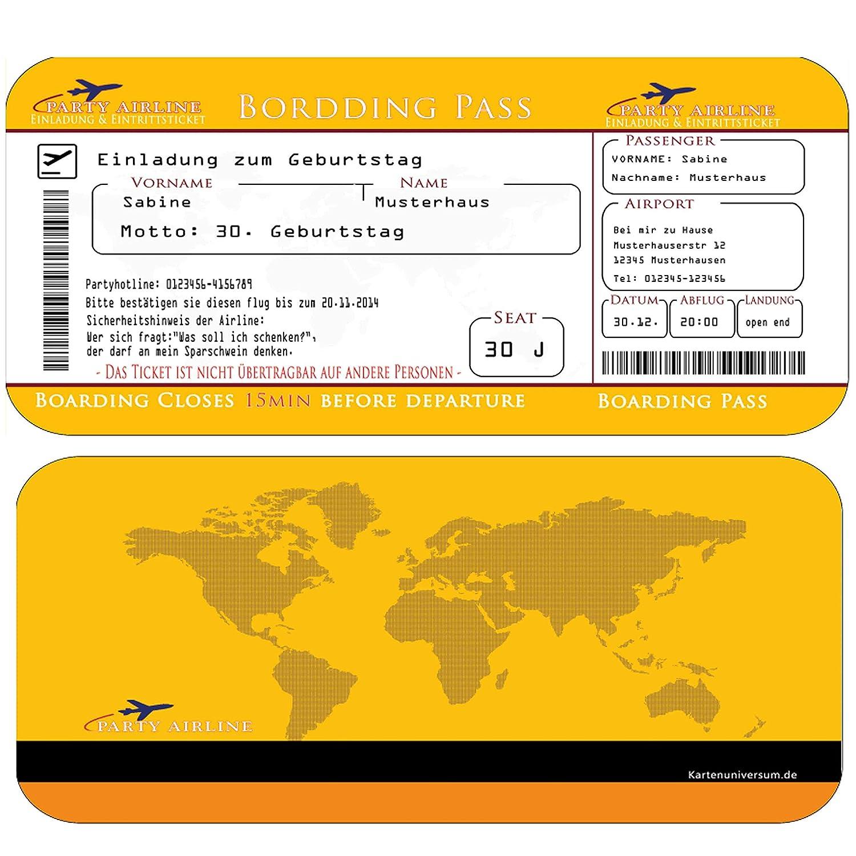 Einladungskarten Geburtstag als Flugticket (+ Ihren Daten und Texten ...