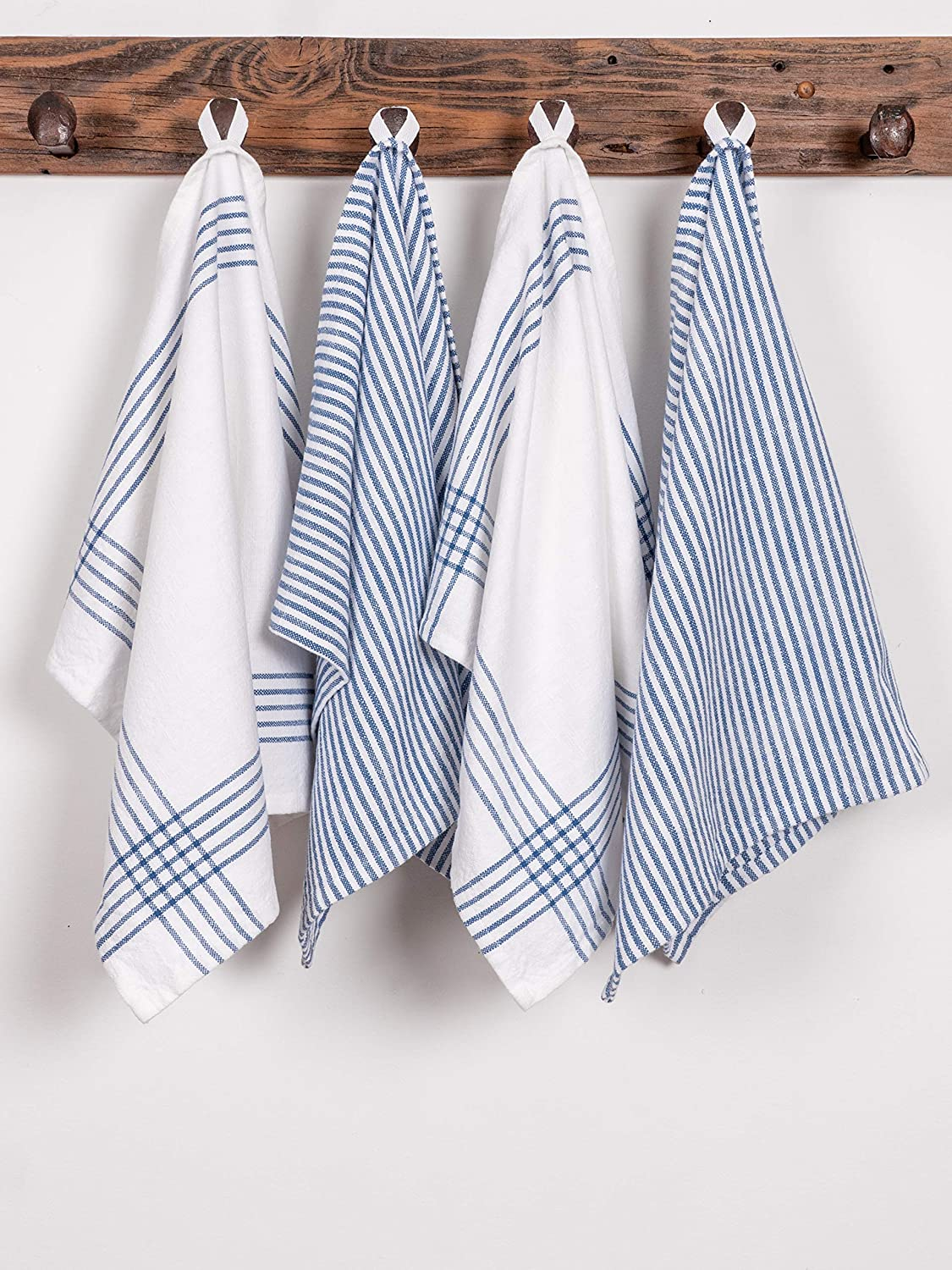 Soft and Absorbent Farmhouse Kitchen Towel Blue 18 x 28 Inches 100/% Cotton Dish Towel KAF Home Set of 4 Monaco Relaxed Casual Slubbed Kitchen Towel Set of 4