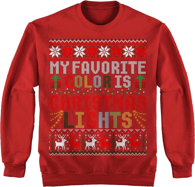 TeeYuh My Favorite Color is Christmas Lights Funny Ugly Xmas Sweater Sweatshirt