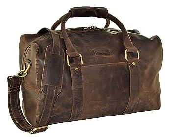 c651885f27 Menzo sac de voyage rétro-vintage en véritable cuir de buffle, bagage à main
