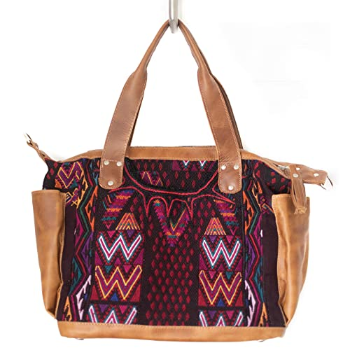 Tan leather and boho huipil backpack Sale