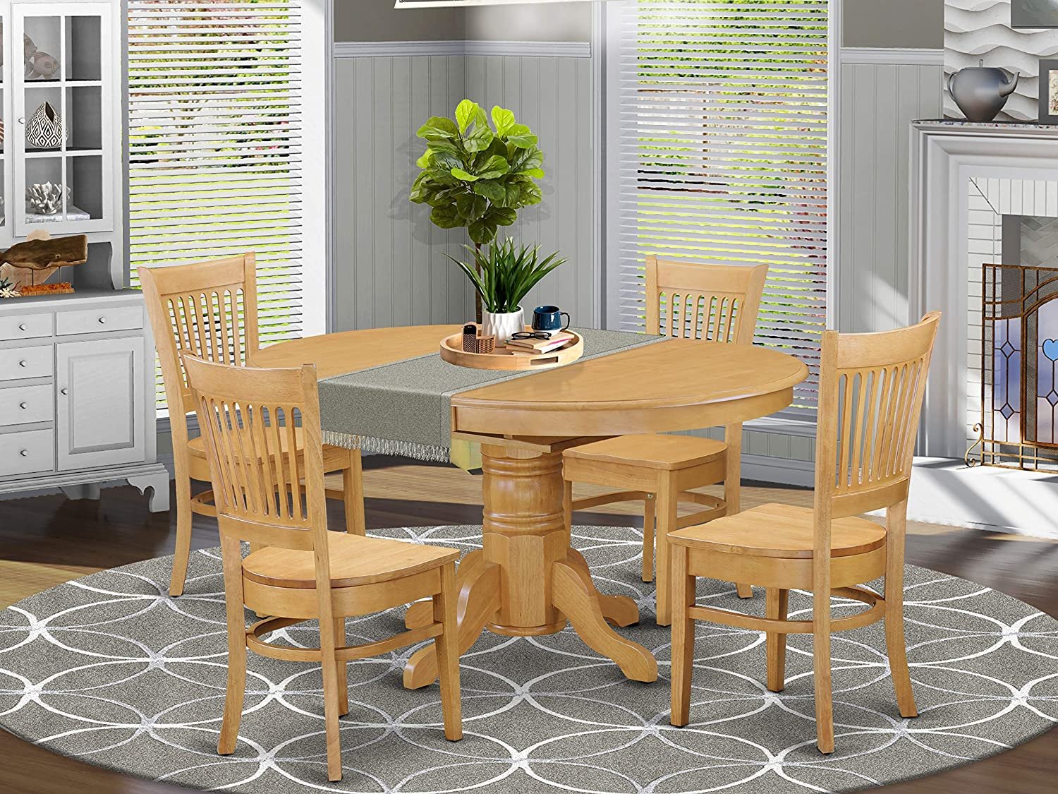 Amazon Com East West Furniture Kitchen Table Set 4 Wonderful Dining Room Chairs A Wonderful Round Wooden Dining Table Oak Color Wooden Seat Oak Butterfly Leaf Dining Room Table Furniture Decor