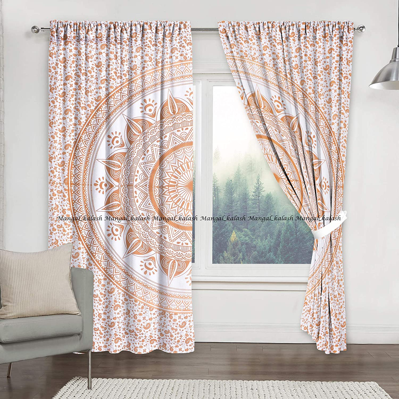 Indian curtain room divider window curtain  hippy gypsy curtain door curtain blue boho shower curtain saree curtains reversible curtain SB23