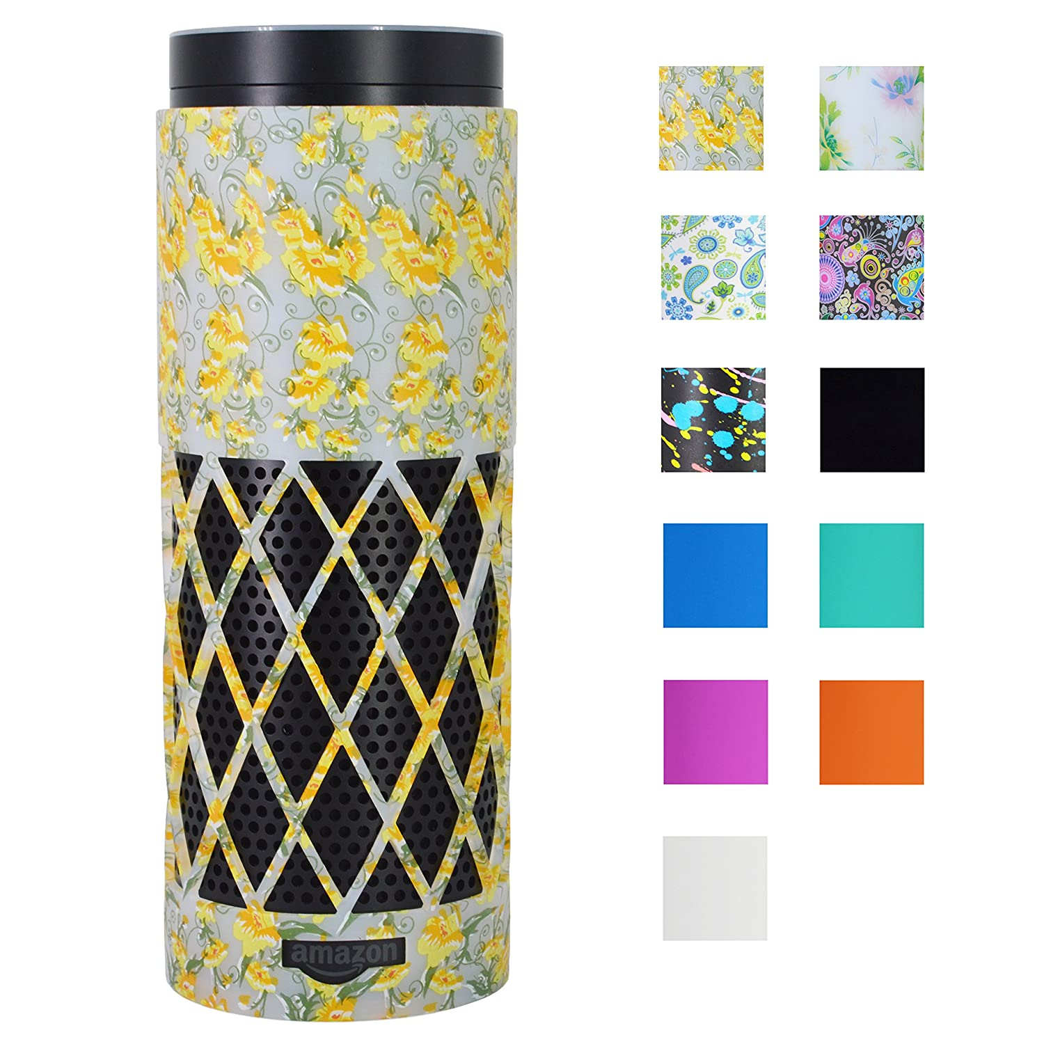 Auchee Silicone Case Stand Cover for Amazon Echo (1st Gen) - 2mm Sleek Mesh Design Allow Real Sound from Echo, Impact Resistant, Precise Cutouts for Amazon Logo & Plug Hole (Yellow Daisy)