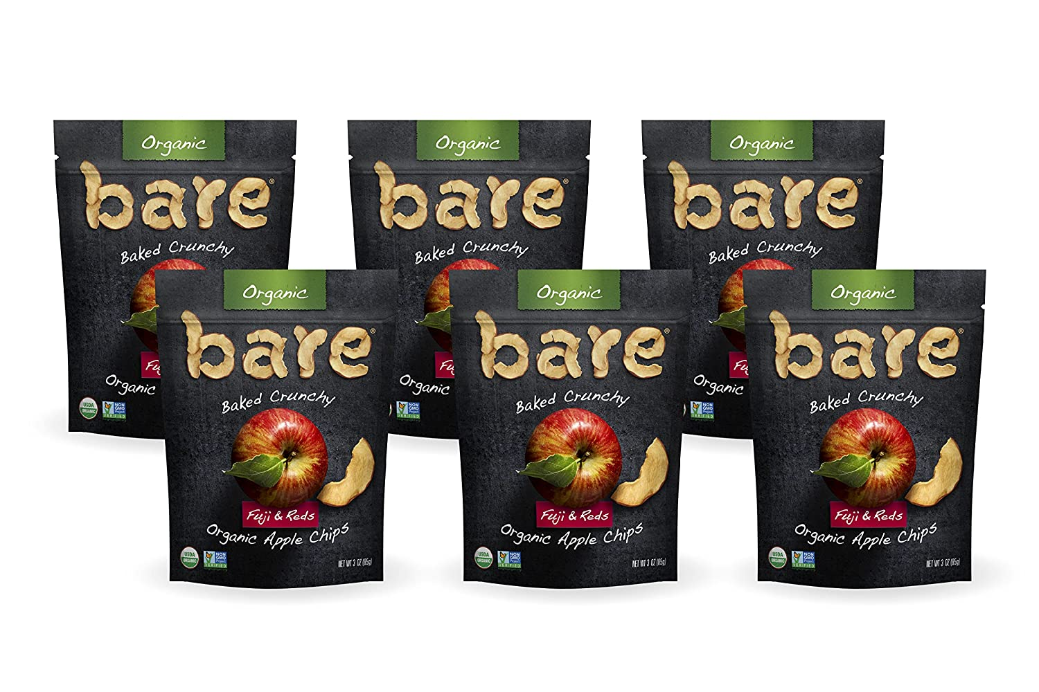 Bare Baked Crunchy Organic Apple Chips, Fuji & Reds, Gluten Free, 3 Ounce Bag, 6 Count