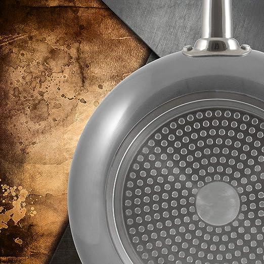 San Ignacio Set 3pc sartenes 18,20,24cm Aluminio prensado Apta para inducción Professional Chef Platinum, Cromado Plata, 18/20/24 cm diámetro