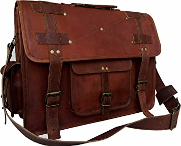 "15/"" Leather Messenger Bag Computer Distressed Brown Satchel Briefcase Manly Men"