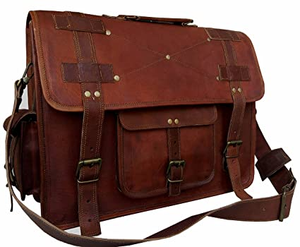 2dc90467a5 Amazon.com  VINTAGE COUTURE 16 Inch leather messenger bags for men ...