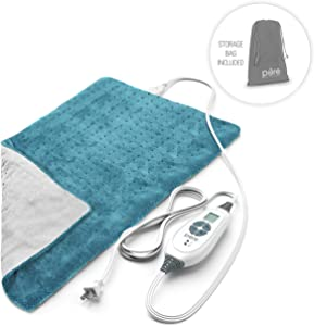 "Pure Enrichment Purerelief XL Heating Pad for Back Pain & Cramps - Fast-Heating, Ultra-Soft Heat Therapy with 6 Temperature Settings & Auto Shut-Off Feature - 12"" X 24"" (Turquoise Blue)"