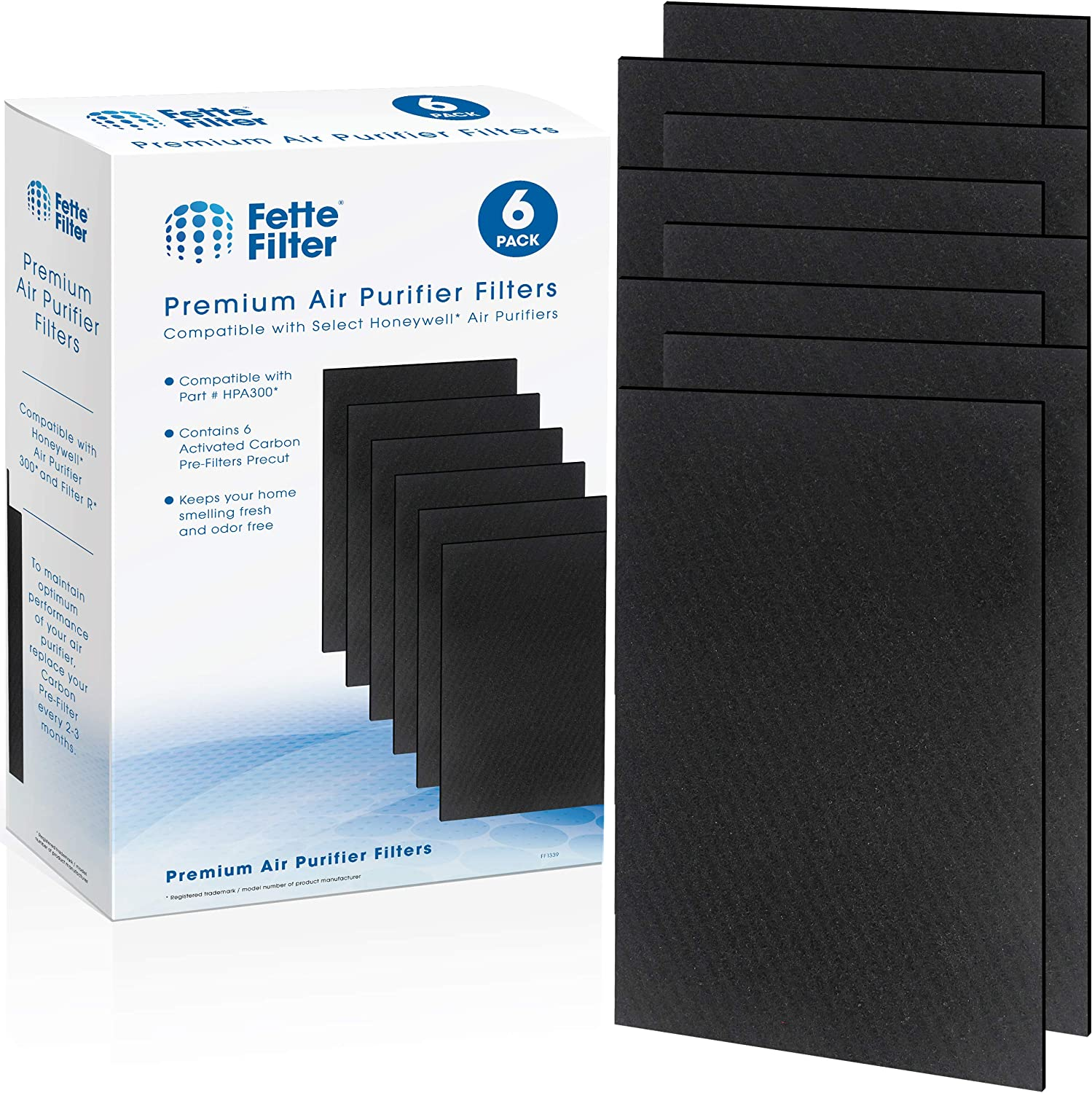 Fette Filter Replacement Filter Pack Including Pre-Cut Activated Carbon Pre-Filters for HPA300 Compatible with Honeywell Air Purifier 300 and Filter R (6 Carbon Filters)