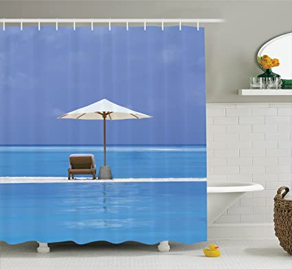 Ambesonne Seaside Decor Shower Curtain Set Beach Chairs And Umbrella On A Island In The