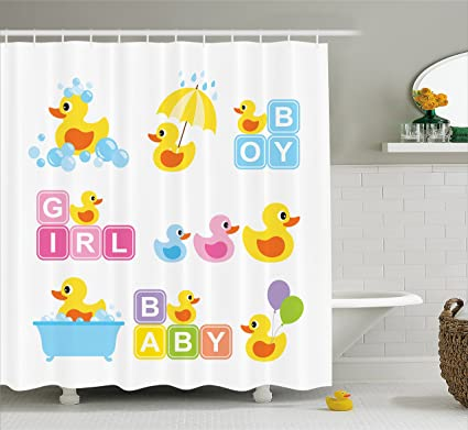 Lunarable Duckies Shower Curtain By Cartoon Rubber Ducks Pattern With Boy Girl Baby Print