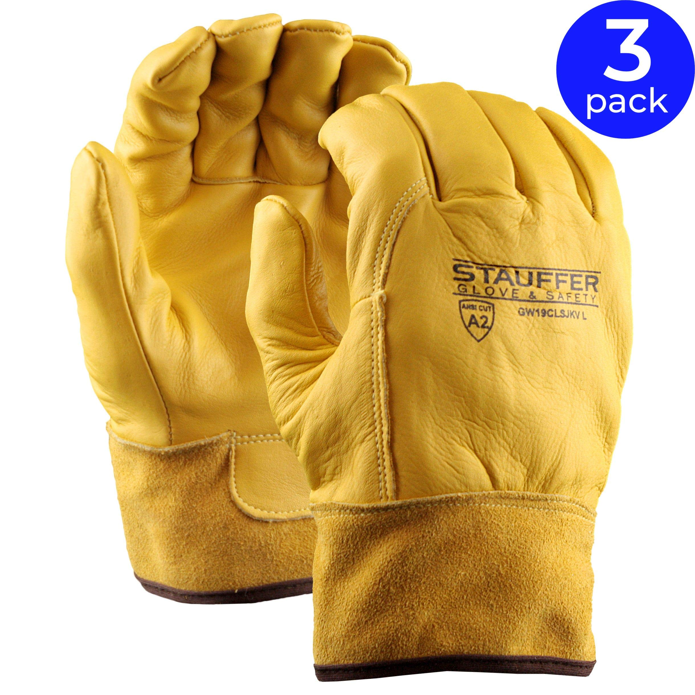 Stauffer Premium Leather Welding Glove with Kevlar Liner | ANSI Cut Level A2, 40 Cal/cm2 ATPV Rating, Gold Color - Extra Large (Pack of 3)