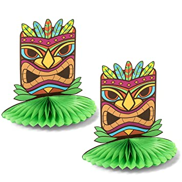 2 Pack   Tiki Statue Hawaiian Pop Up Table Centerpieces   Perfect Tropical  Luau Party Decoration