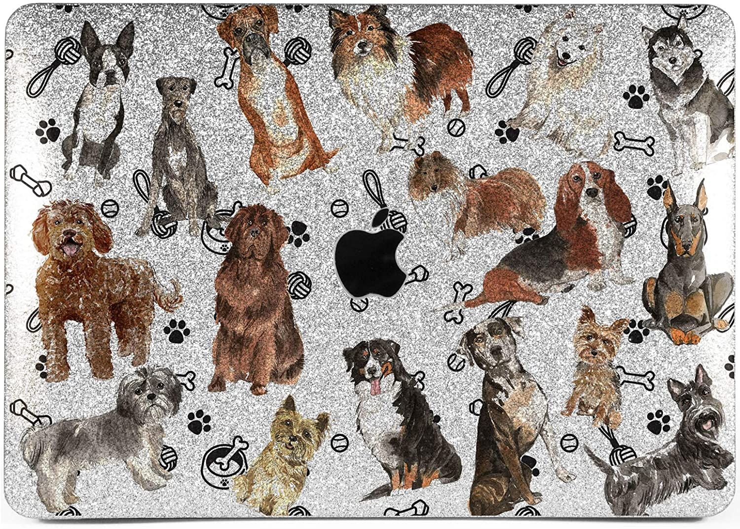 Lex Altern Glitter Case for Apple MacBook Air 13 inch Pro Mac 15 Retina 12 11 2020 2019 2018 2017 Corgi Cute Dogs Silver Glossy Bulldog Hard Cover Puppy Rose Gold Crystal Bling Animal Laptop Shiny