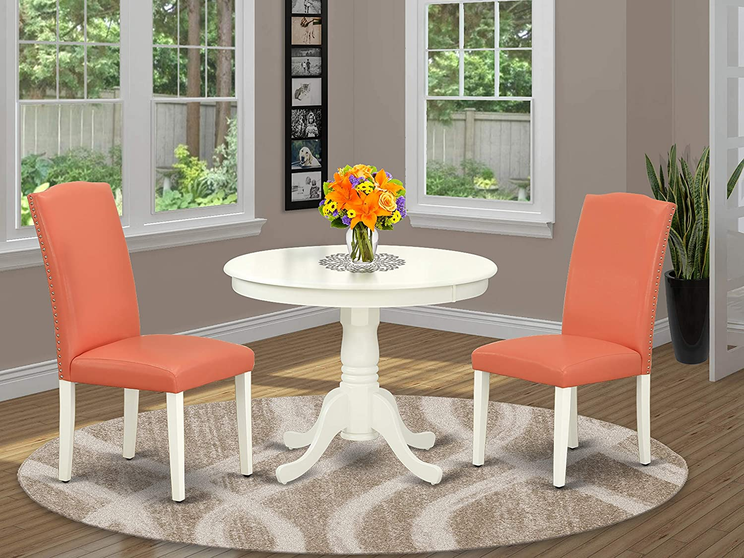 East-West Furniture Nook Kitchen Table Set 3 Pieces - Pink Flamingo PU Leather Parsons Dining Room Chairs - Linen White Finish Hardwood Pedestal Dining Table and Frame