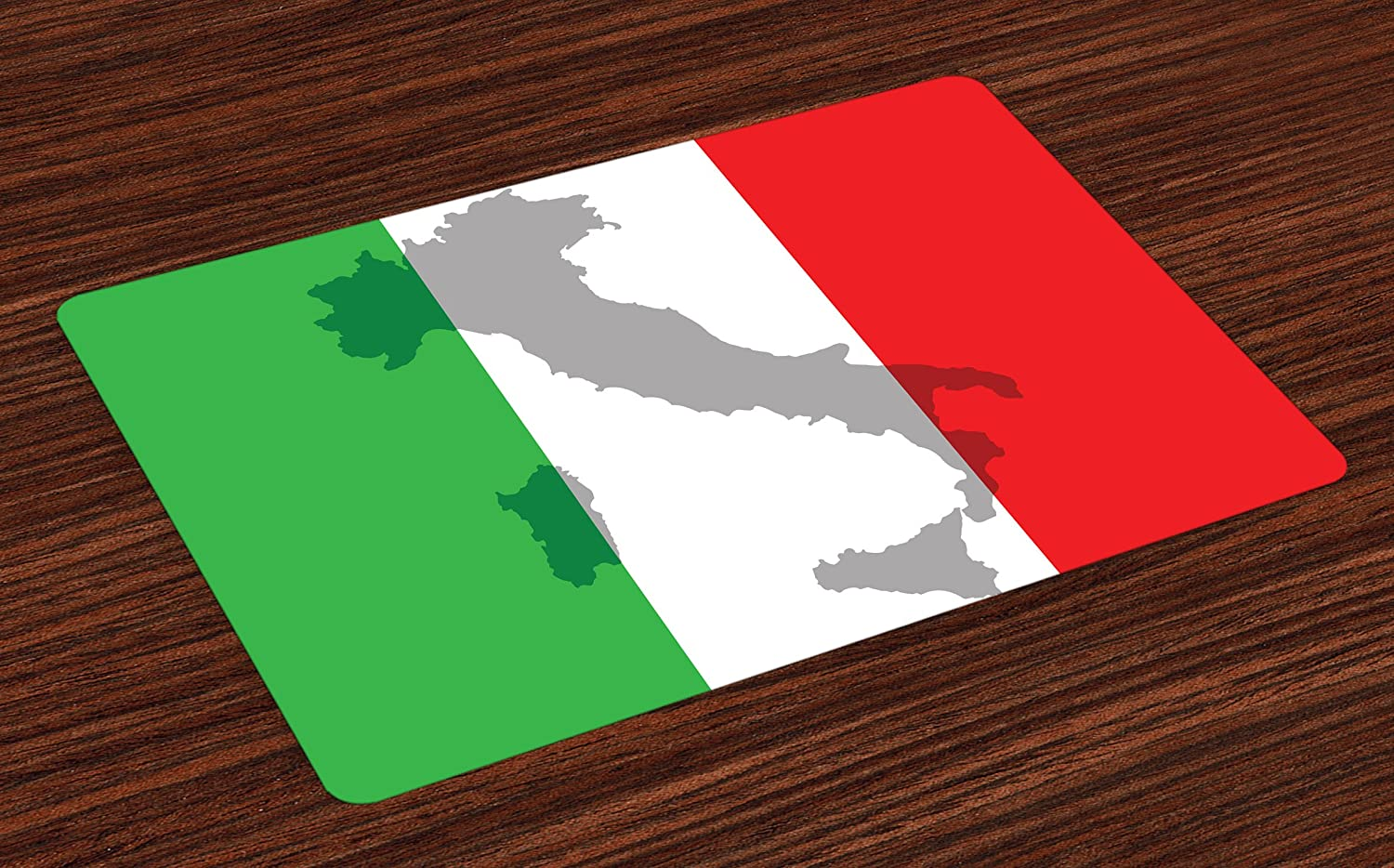 Lunarable Italian Flag Place Mats Set of 4, Map View of Italy Land Chart National Country Europe Ancient Culture, Washable Fabric Placemats for Dining Room Kitchen Table Decor, Grey Red Fern Green