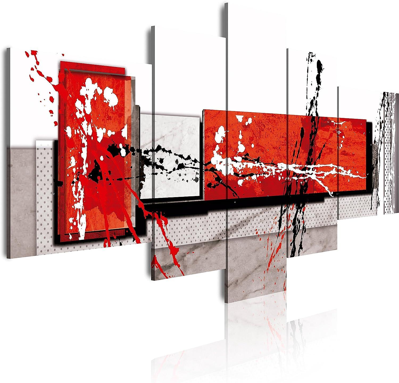 DekoArte - Cuadros Modernos Impresión de Imagen Artística Digitalizada | Lienzo Decorativo Para Tu Salón o Dormitorio | Estilo Abstracto Moderno Colores Gris Rojo Blanco | 5 Piezas 180 x 85 cm XXL