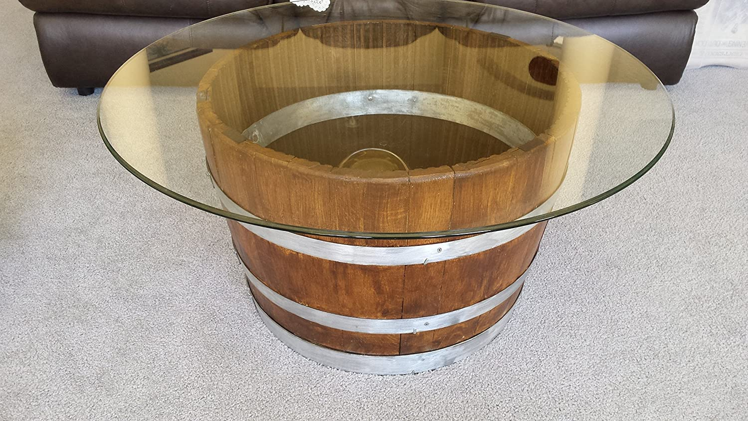 Decorative Half Wine Barrel Table With Glasstop - FREE SHIPPING