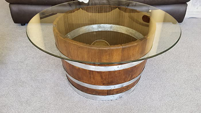 decorative half wine barrel table with glasstop
