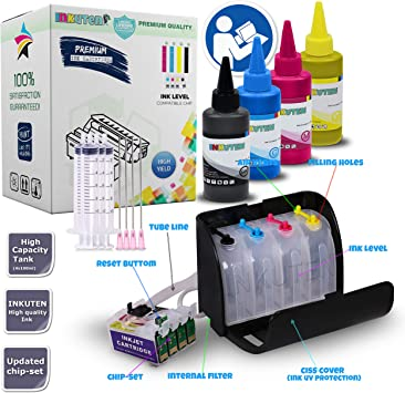 Amazon.com: INKUTEN T220XL/220 R2 CIS CISS Continuous Ink ...