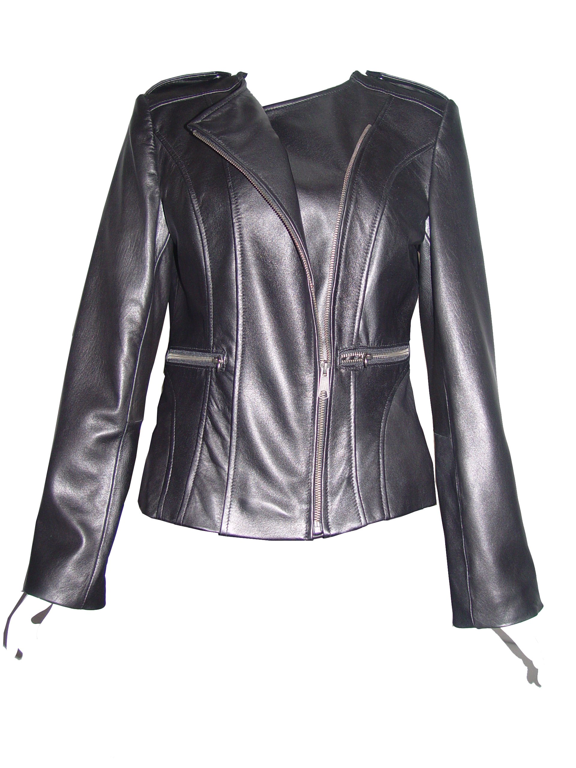 Nettailor 4069 Leather Collarless Motorcycle Jackets Womens Light lamb