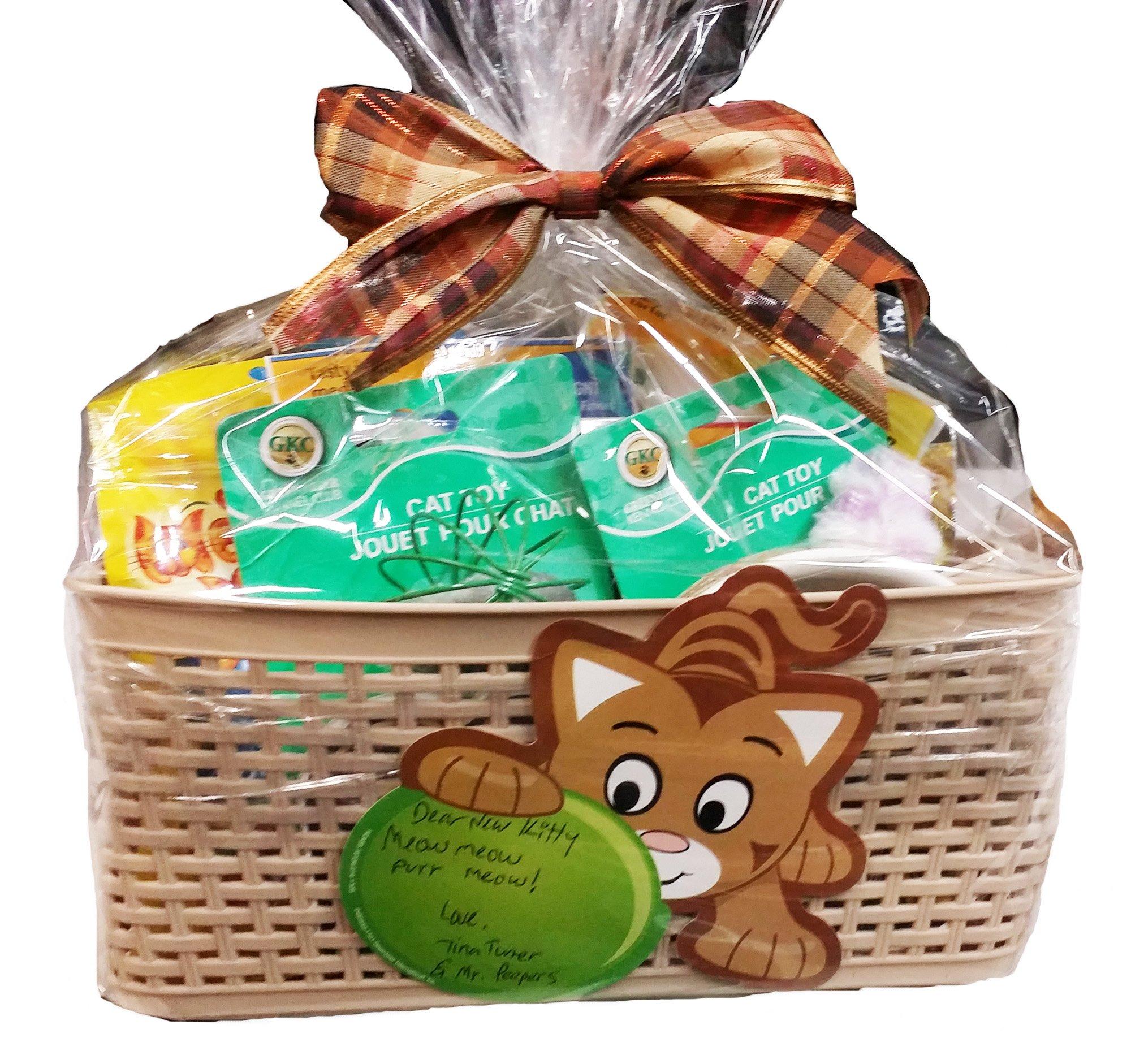 Lulu's Baskets PET MASCOT DOG/CAT Gift Basket Beautiful basket with food + Gifts (CAT GIFT BASKET)