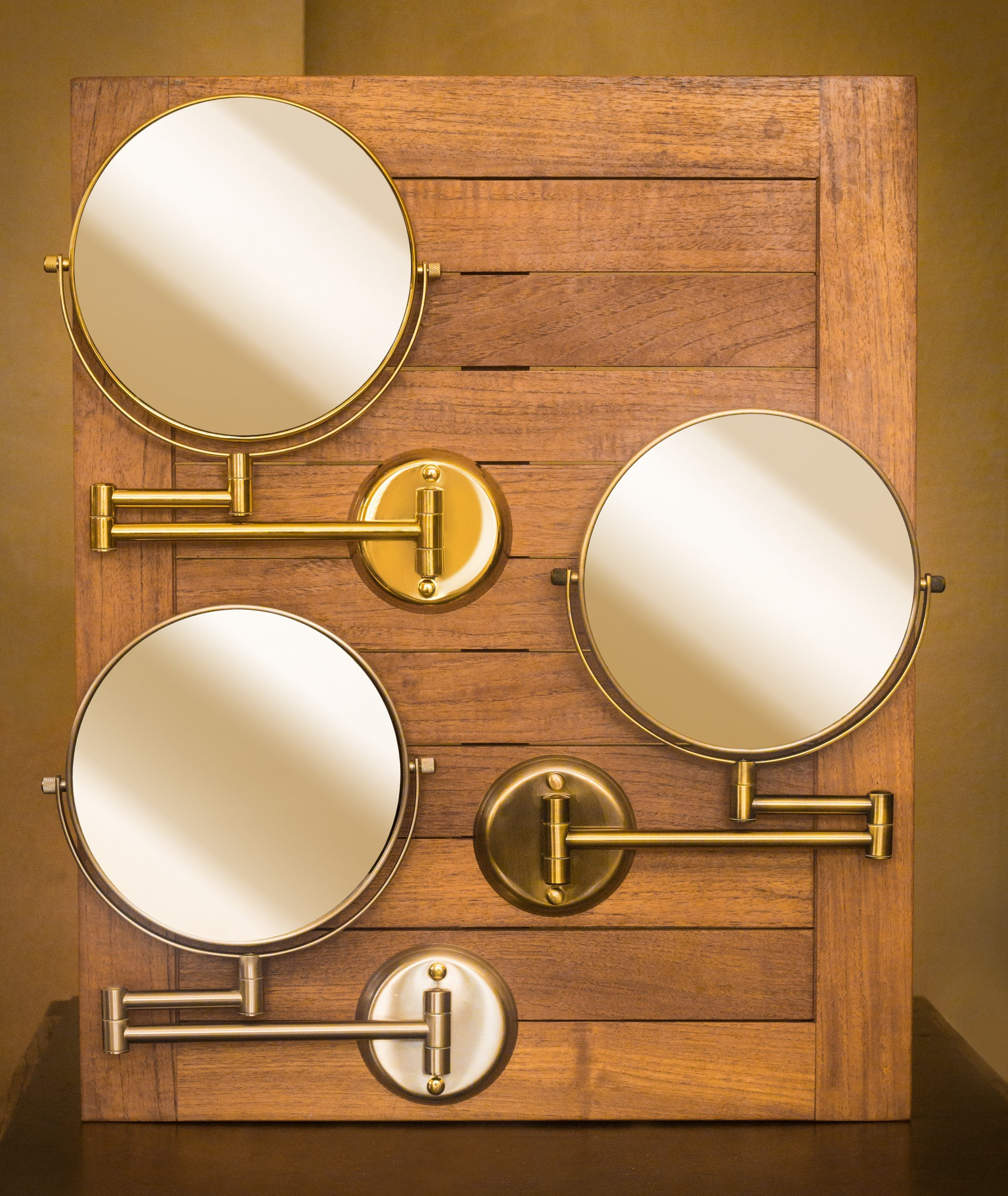 Hotel Quality 8'' Magnification Wall Mount Swing Arm Mirror. Two-Sided Regular & 7X Magnification. Brushed Brass Finish. by Trish
