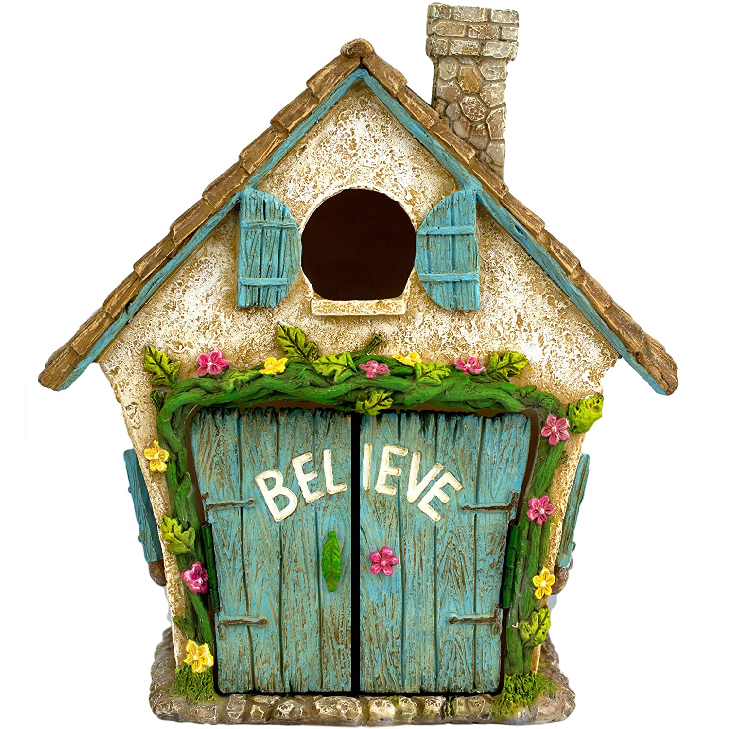 "Twig & Flower The Adorable Believe Fairy Garden House - 8"" tall - Hand Painted (with Doors that Open) by"