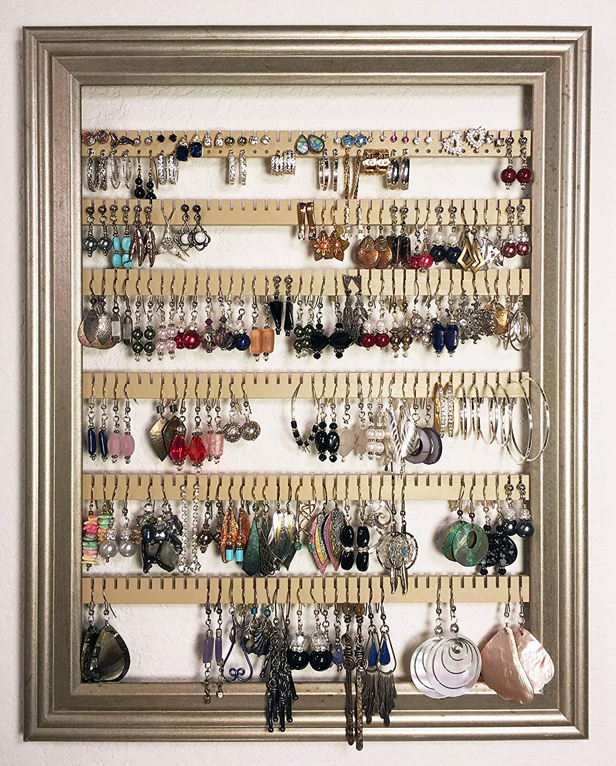 Earring Holder Organizer Storage Jewelry Rack - Wall Mounted Picture Frame Hanging Jewelry Display - Available in 4 Colors - Champagne, Large
