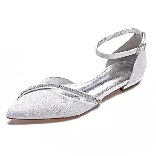 a0fbdce0ad1 MarHermoso Women s Ankle Strap Cross Strap Side Diamante Pointed Lace  Wedding Shoes  Amazon.co.uk  Shoes   Bags