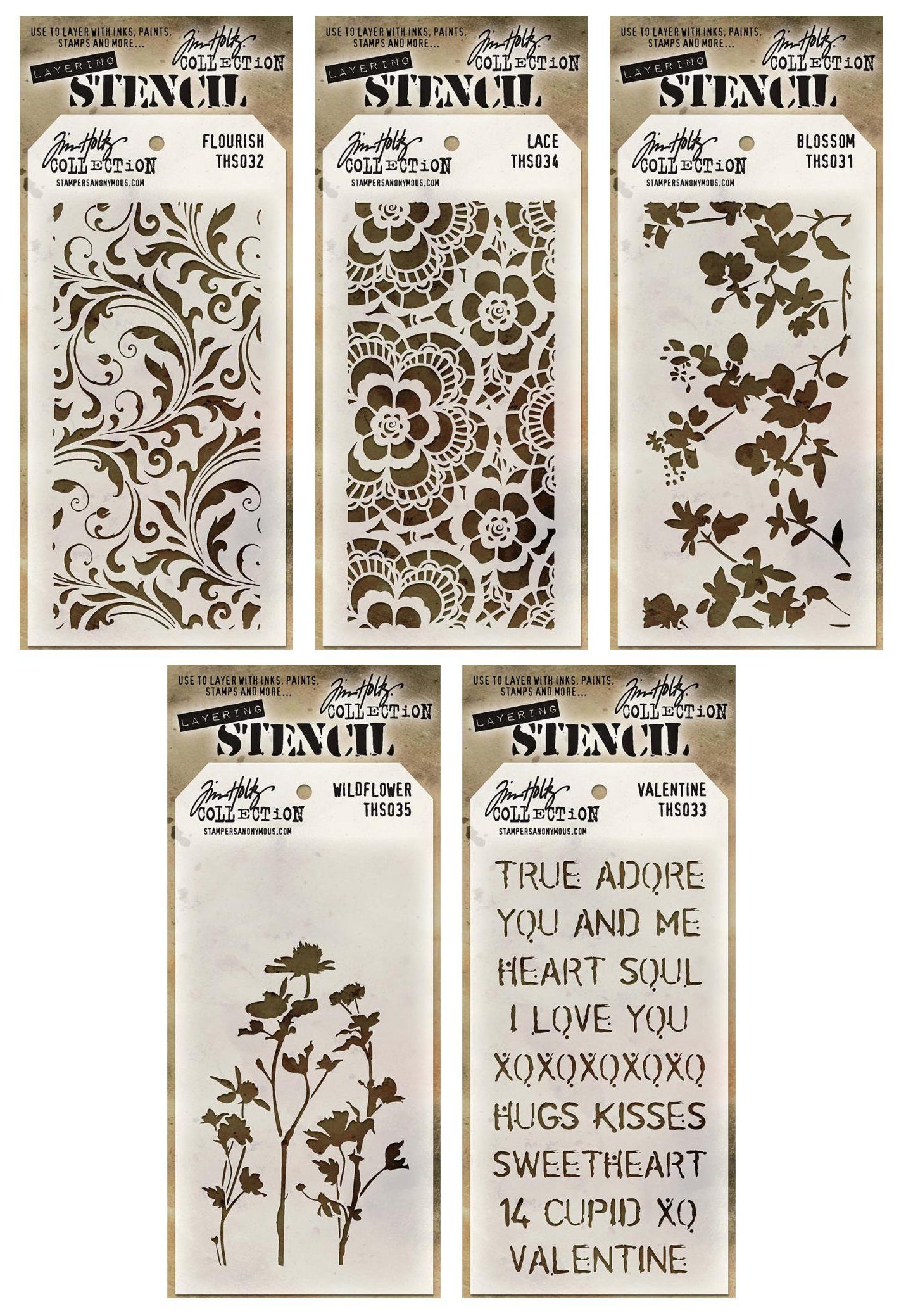 Tim Holtz - Stencils Set 1 - Five Item Bundle - Blossom, Flourish, Lace, Wildflower, and Valentine